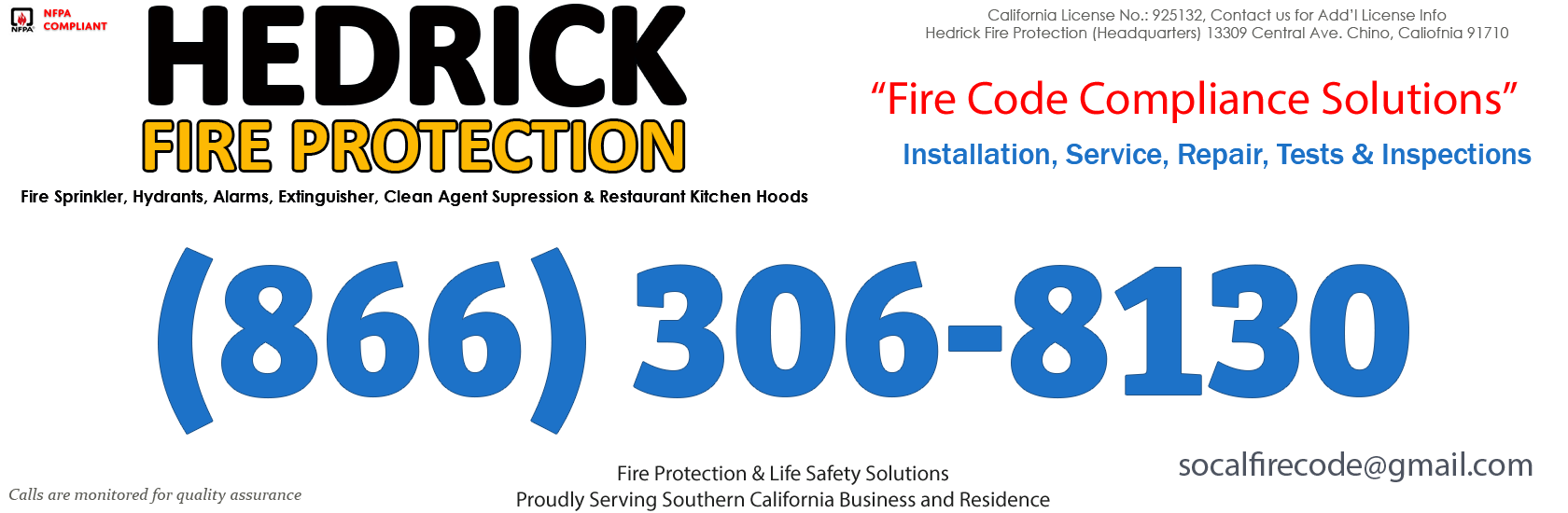 Chino Hills, California Fire Sprinkler Service Company